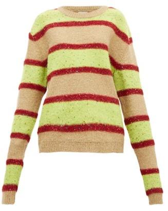 Ashish Oversized Sequinned Sparkle Knit Stripe Sweater - Womens - Green Multi