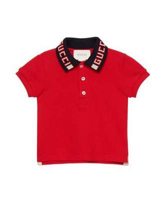 Gucci Short-Sleeve Polo w/ Knit Logo Collar, Size 12-36 Months