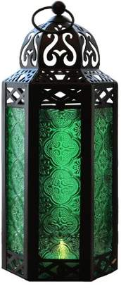 Green Glass Moroccan Style Candle Lantern - Great for Patio