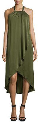 Ella Moss Seti Drape-Front Halter-Neck Dress $248 thestylecure.com