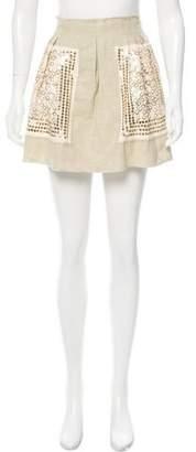 Philosophy di Alberta Ferretti Sequin Embellished Linen Skirt w/ Tags