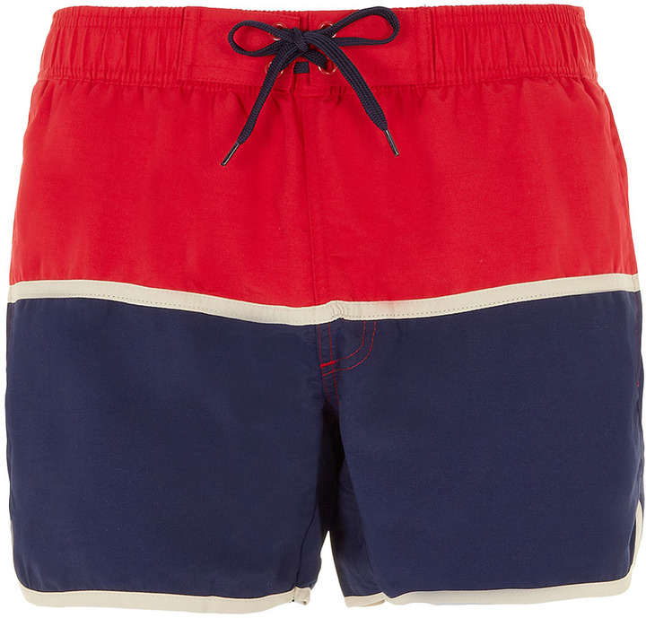 Topman Red And Navy Swim Shorts