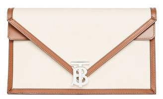 Burberry Small Canvas And Leather TB Envelope Clutch