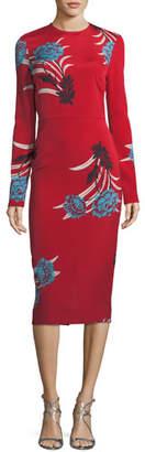 Diane von Furstenberg Tailored Long-Sleeve Floral Sheath Dress