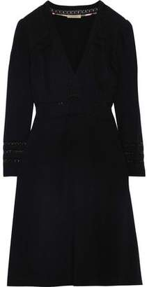 Burberry Lace-trimmed Pintucked Crepe Dress