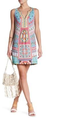 Hale Bob Sleeveless V-Neck Embellished Print Dress $235 thestylecure.com