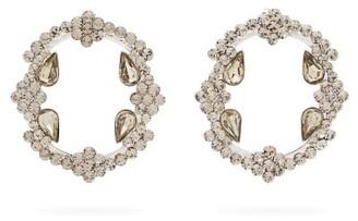 Etro Crystal Embellished Hoop Earrings - Womens - Silver