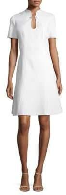 Elie Tahari Yuki Hardware Splitneck Flare Dress