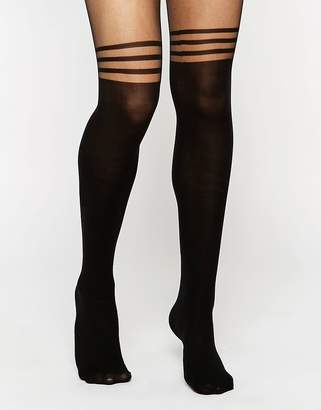 Asos DESIGN 3 stripe over the knee tights with support