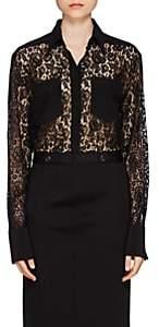 Givenchy Women's Crêpe-De-Chine-Trimmed Lace Blouse - Black
