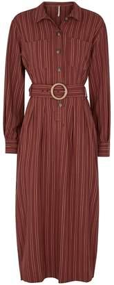 Free People Audrey Brown Striped Shirt Dress