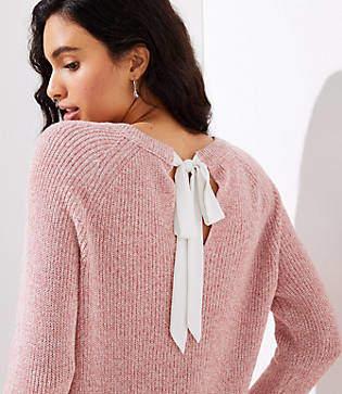 LOFT Marled Bow Back Sweater
