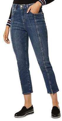 Karen Millen Slit-Hem Cropped Straight-Leg Jeans in Denim