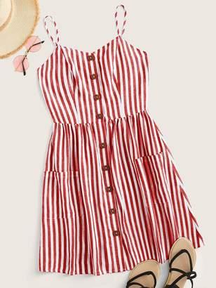 Shein Shirred Back Patch Pocket Striped Slip Dress