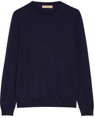 Burberry Flannel-trimmed Merino Wool Sweater - Navy