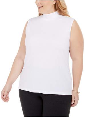 Karen Scott Plus Size Sleeveless Mock-Neck Top