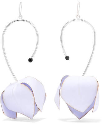 Marni Silver-tone, Poplin And Crystal Earrings - Blue