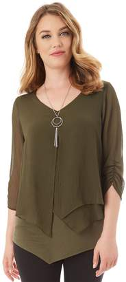 Apt. 9 Women's Asymmetrical Chiffon Popover Top & Necklace Set