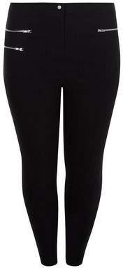 New Look Curves Black Triple Zip Pocket Bengaline Trousers