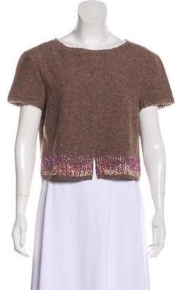 Alberta Ferretti Embellished Tweed Top