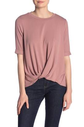&.Layered Front Twist Woven Back Short Sleeve Blouse
