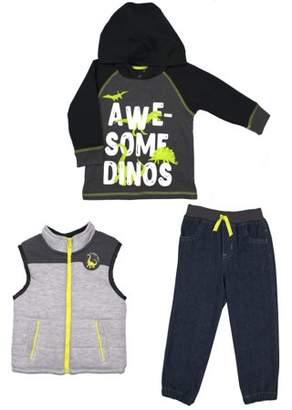 Little Rebels Vest, Hoodie Sweatshirt & Jogger Pants, 3pc Outfit Set (Baby Boys & Toddler Boys)