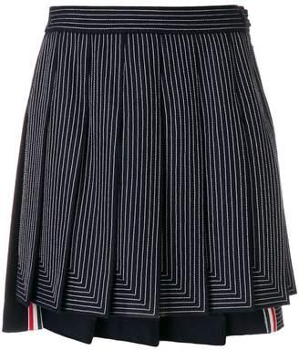 Thom Browne Embroidered Flannel Mini Pleated Skirt