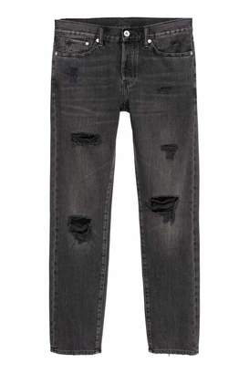 H&M Trashed Straight Jeans - Black/Washed out - Men