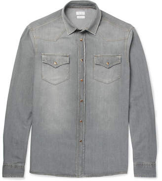 Brunello Cucinelli Slim-Fit Washed-Denim Western Shirt - Gray
