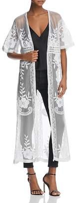 Aqua Embroidered Mesh Duster Cardigan - 100% Exclusive