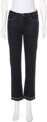 Frame Mid-Rise Studded Jeans
