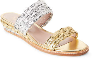 Aperlaï Silver & Gold Metallic Braided Wedge Slide Sandals