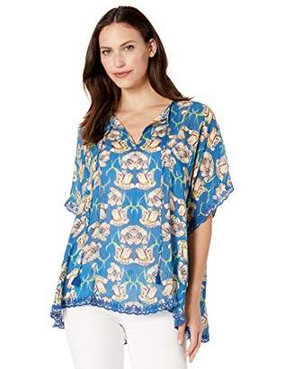 Johnny Was Women's Relaxed Short Sleeve Rayon Blouse with Tassel Tie
