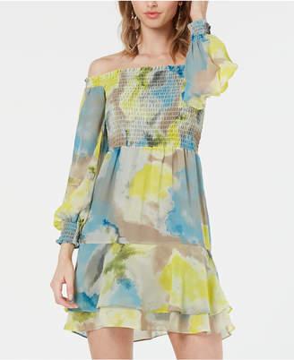 Bar III Watercolor Tie-Dye Smocked Off-The-Shoulder Dress