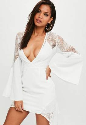 Missguided White Lace Insert Asymmetric Mini Dress