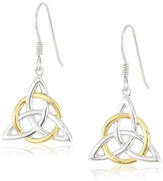 Celtic 18k Yellow Gold Plated Sterling Silver Two Tone Triquetra Trinity Knot Triangle Drop Earrings