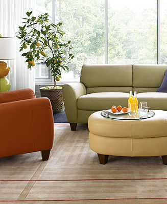 Almafi 4-Piece Leather Sofa Set: Sofa, Daybed, Recliner and Oval Bench