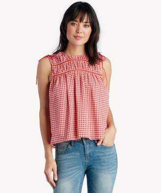 Sole Society Printed Cold Shoulder Top With Lace Inset and Shoulder Ties