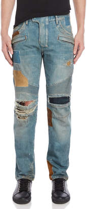 Balmain Patchwork Distressed Skinny Jeans