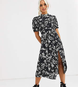 New Look Petite short sleeve split midi dress in black ditsy floral pattern