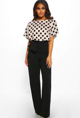 418bc8893aa146 Pink Boutique Looking Fine Stone Polka Dot Belted Wide Leg Jumpsuit