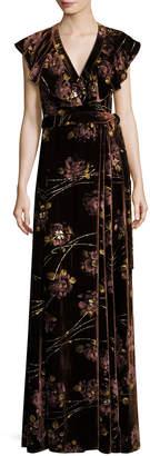 Co Floral Velvet Maxi Wrap Dress, Burnt Sienna