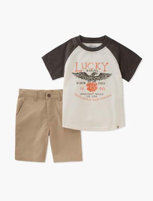 Lucky Brand BASEBALL LUCKY TEE & SHORTS SET