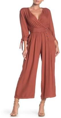 Angie Surplice Button Front Woven Jumpsuit