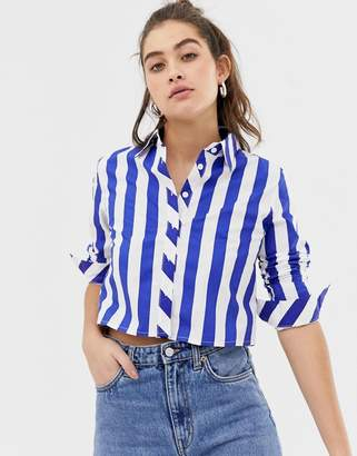Glamorous stripe cropped shirt