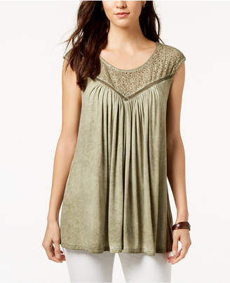 Style&Co. Style & Co Lace-Trim Sleeveless Swing Top, Created for Macy's