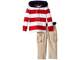 Ralph Lauren Baby Rugby Hoodie Belted Pants Set (Infant)