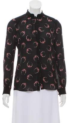 Vilshenko Silk Floral Print Top