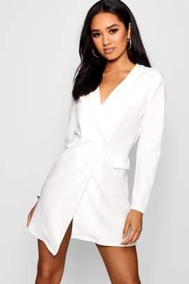 boohoo Petite Wrap Front Blazer Dress