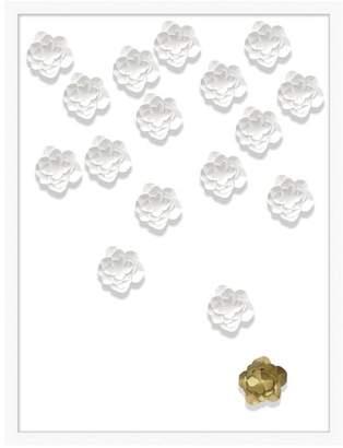 Pottery Barn Teen Folded Flower Framed Art, white/gold, 26&quotx34&quot